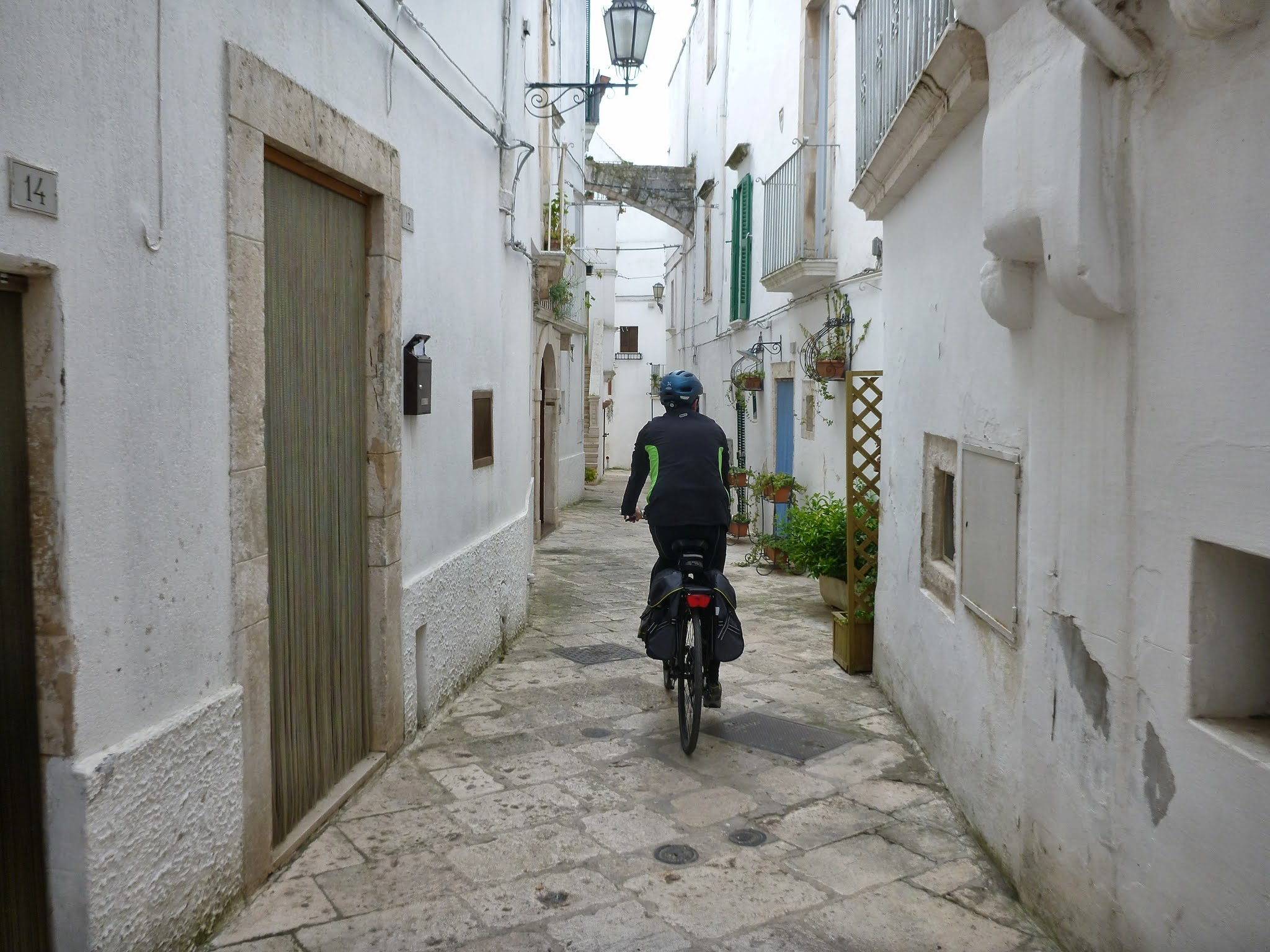 Riding through a typical village in Apulia