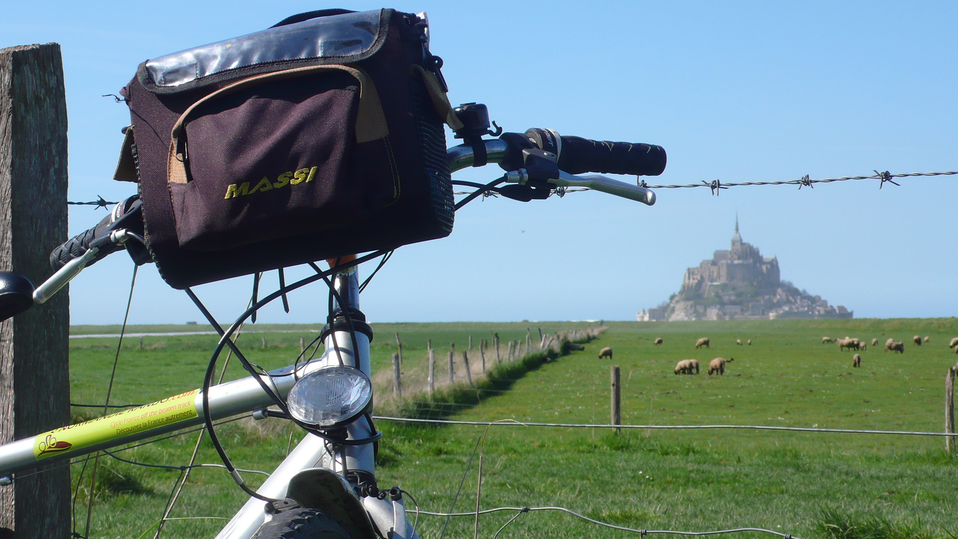 Bike and field of sheep below Mont Saint Michel