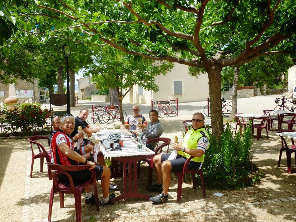 Cyclomundo riders resting for lunch in the afternoon