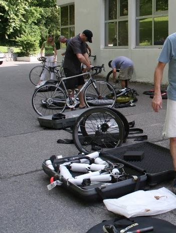 Clients packing thier bikes