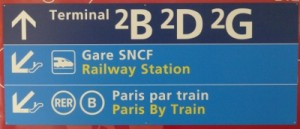Signage for the Charles de Gaulle Airport's train station