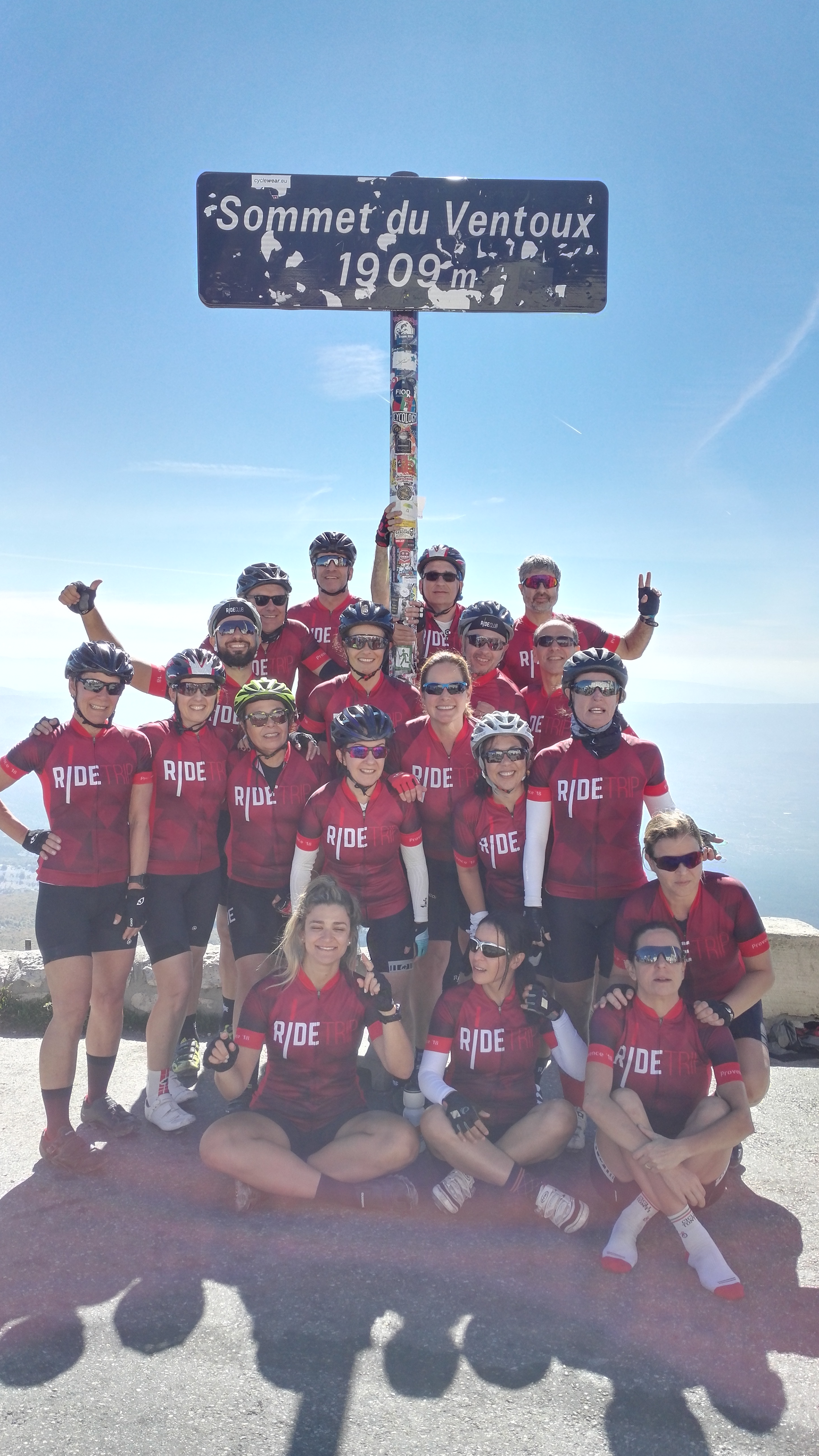 Cyclomundo riders at the summit of Mont Ventoux