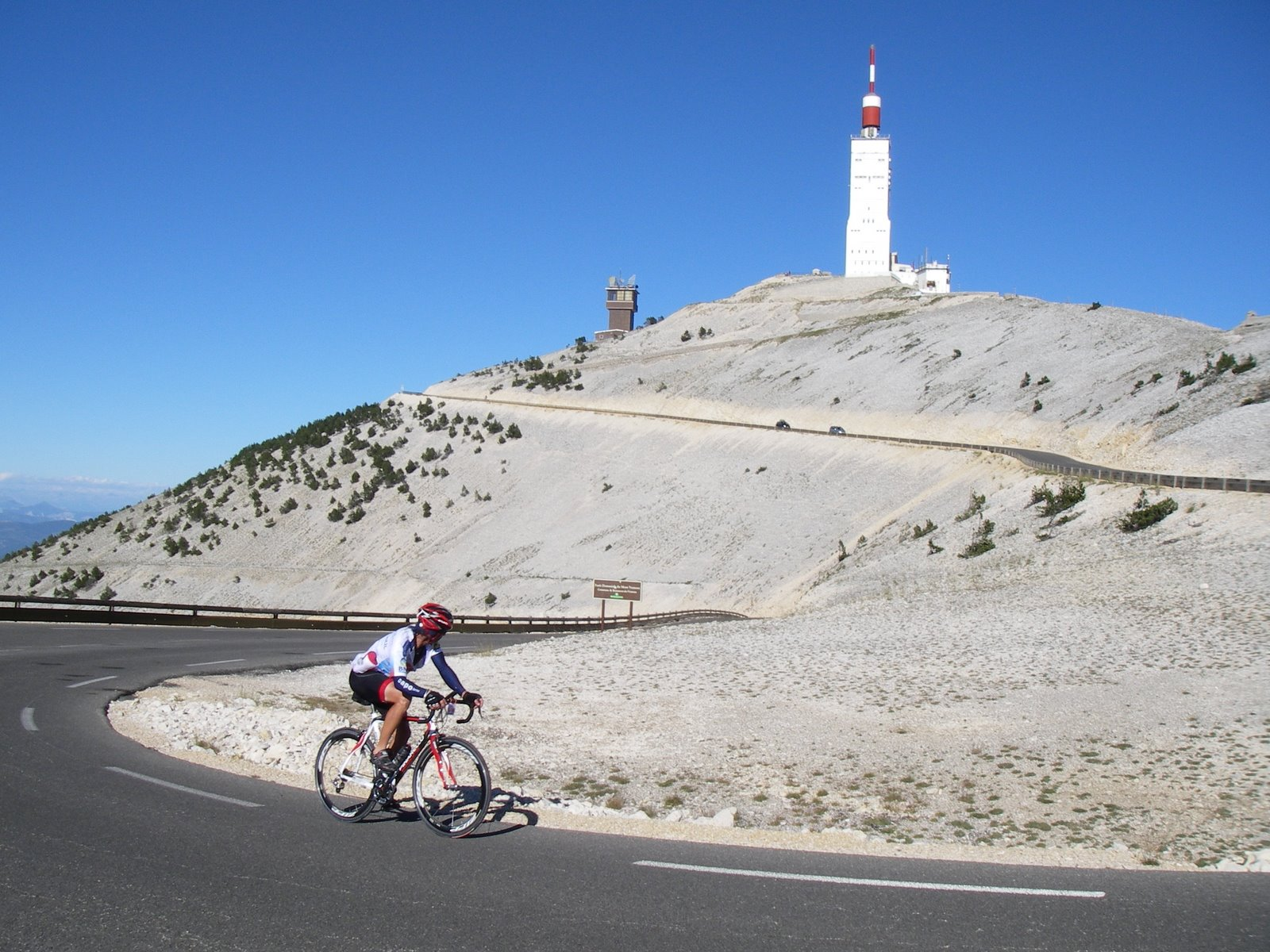 Cyclist making their way to the summit