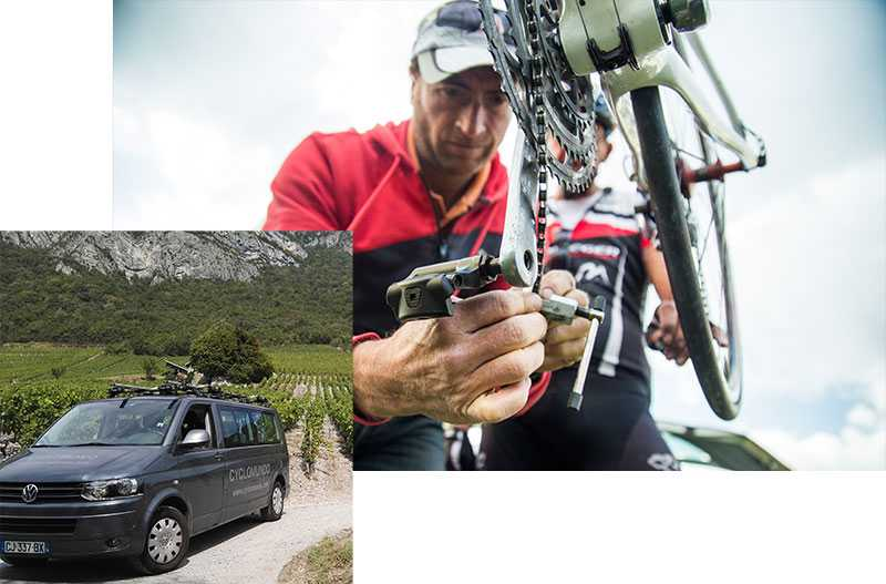 Cyclomundo provides a support vehicule and mechanical services on specific trips