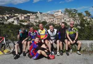 Fellow riders contemplating the village of Gordes in Provence