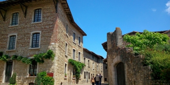 The medieval village of Perouges is one of the highlights of the tour betwee, Geneva and Lyon