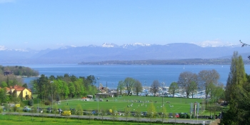 The Chablais mountain range in France is visible from the Swiss side of Lake Geneva