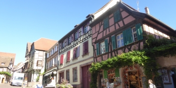 Cycling through little alsatian villages with half-timbered houses