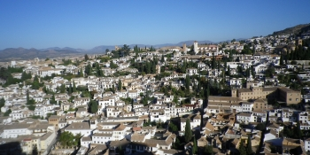 The arabic area of the town of Granada, view from the famous Alhambra