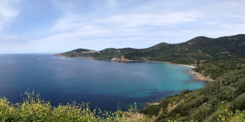 Nice view on the west coast and the village of Cargèse when you are cycling from Piana to Ajaccio
