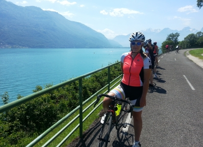 Arriving in Annecy and taking a picture of the scenic view of the Lake