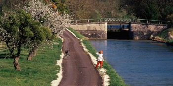 The itinerary follows the Burgundy canal on a quiet path
