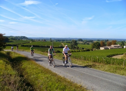 Cycling on quiet roads in Bordeaux wine producing area