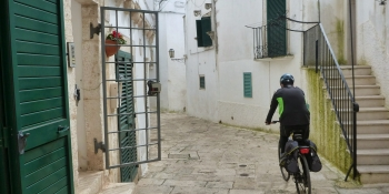 Riding through typical and paved village streets