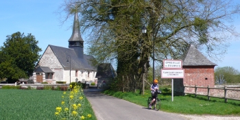 Cycling through little villages with chapel and old houses